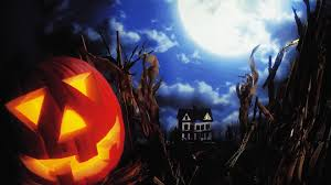 halloween 4k wallpaper happy halloween candle and pumpkin and scary old house 4k hd