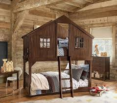 tree house twin over twin bunk bed pottery barn kids