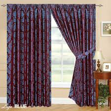 Pencil Pleat Curtain Tape Luxury Jacquard Curtains Fully Lined Ready Made Tape Top Pencil
