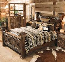 black rustic bedroom furniture clear lacquer iron wood bed two