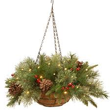 Outdoor Hanging Christmas Decorations Beautiful Christmas Hanging Baskets With Led Lights