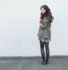 casual work attire skater dress and parka jacket just a tina bit