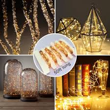 Starry String Lights Amber Lights On Copper Wire by Remote And Timer Battery Operated 66 Ft 200 Led Copper Wire String