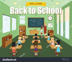 classroom template children desks teacher stock vector