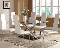 glass top dining room tables rectangular awesome glass dining table with white leather chairs ideas