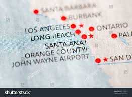 Santa Ana California Map Closeup On Santa Anaorange County California Stock Photo 367123973