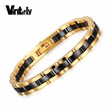 ceramic bracelet images Vinterly hand chain bracelet for men women black gold color jpg