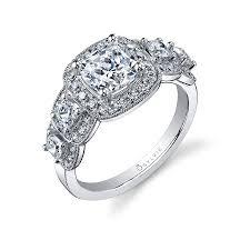 Diamond Cushion Cut Ring Vintage Halo Cushion Cut Diamond Engagement Ring