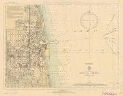 Michigan Lighthouse Map by Lake Michigan Kenosha Harbor Historical Map 1935 Lake