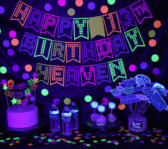 glow party 80s cake topper neon cake topper glow cake topper neon