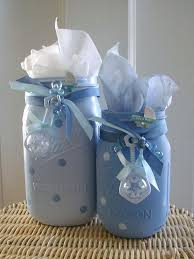 jar baby shower centerpieces boy baby shower painted jars boy baby shower centerpiece