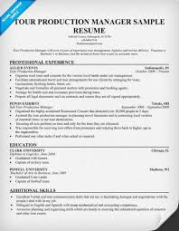 Manager Sample Resume by Tour Production Manager Resumecompanion Com Resume Samples