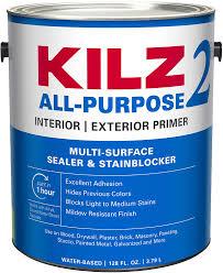 what of primer do you use on kitchen cabinets kilz 2 multi surface stain blocking interior exterior primer sealer white 1 gallon