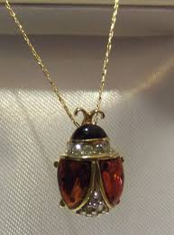 lady bird necklace images Vintage yellow gold diamond ladybug ladybird necklace jpg