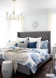 spring in full swing home tour 2017 grey upholstered bed white
