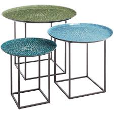 outdoor mosaic accent table annabelle blue 3 piece mosaic coffee table set spaces room and patios