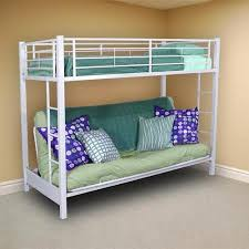 Buy Twin Bunk Bed Over Futon Sofa In White In Cheap Price On - White futon bunk bed