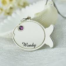 Necklace With Kids Names Silver Birthstone Name Necklace Engraved Kids Name Fish Pendant