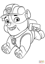 paw patrol rubble backpack super coloring colouring