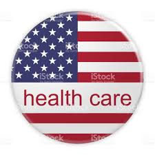 stock united healthcare usa politics health care button with us flag 3d illustration stock
