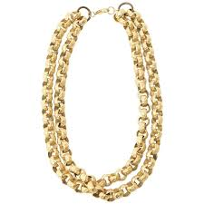 chain link necklace chunky images Chunky gold plated double link chain necklace for sale at 1stdibs jpg