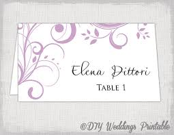 wedding place cards template printable place card template lilac scroll name cards diy