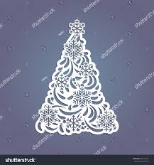 Cutting Christmas Tree - christmas tree cut out paper template stock vector 492416614
