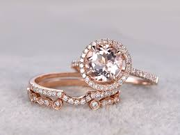 wedding set 3pcs morganite gold wedding set diamond eternity ring 8mm