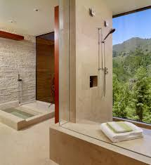 seattle stacked stone wall bathroom contemporary with slate modern