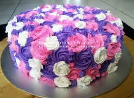 birthday cake with all lavender flowers for jan theme purple