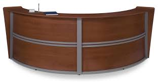 Shabby Chic Reception Desk Curved Reception Desk Double Station With Cherry Finish