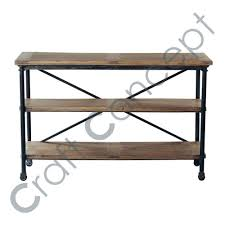 Mango Wood Console Table Casters In Metal Solid Mango Wood Console Table Casters In Metal