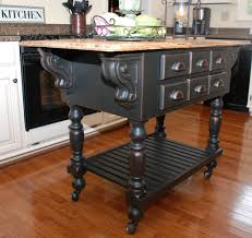 Black Distressed Kitchen Island by Remodelaholic From Oak Kitchen Cabinets To Painted White Cabinets