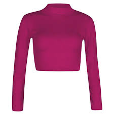 turtle polo neck sleeve crop top t shirt tops womens