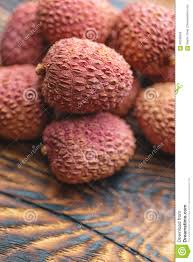 fruit similar to lychee lichee on wooden table litchi lychee fruit detail stock image