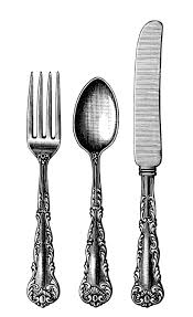 kitchen forks and knives vintage cutlery clipart black and white clip fashioned