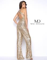 gold jumpsuit gold sequin flared prom jumpsuit mac duggal 4496m