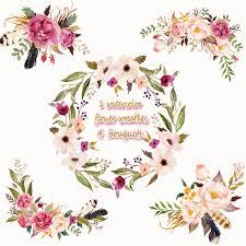 wedding flowers png 3 5usd 1 watercolor flower wreathes 4 flower bouquet floral