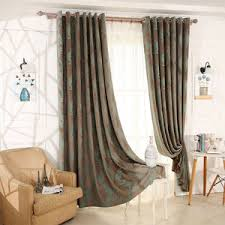 Vintage Green Curtains Ombre Floral Print Poly Cotton Blend Vintage Bedroom Curtains