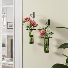 Wall Mounted Glass Flower Vases Danya B Urbanne Rustic Black Metal Wall Mount Hanging Glass