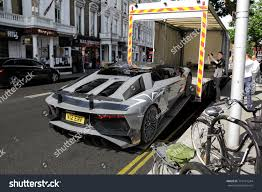 lamborghini light grey london england 170617 lamborghini aventador sv stock photo