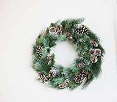 vintage christmas wreath pine branches and pine cones large