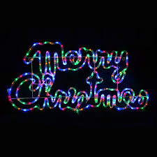 multi coloured led rope light merry sign decoration