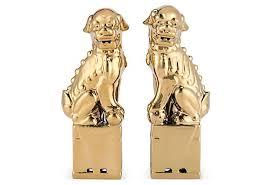 gold foo dogs s 2 sitting foo dogs gold on onekingslane home styling