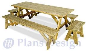 Plans For A Picnic Table And Benches by Classic Rectangle Picnic Table With Benches Woodworking Plans