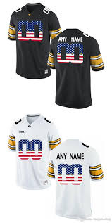 Iowa Hawkeyes Flag Mens Iowa Hawkeyes Customized Black Jersey
