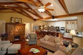 traditional cottage kitchen living room design vaulted beam