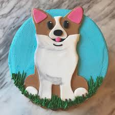 alliance bakery cute lil 2d fondant doggo on buttercream
