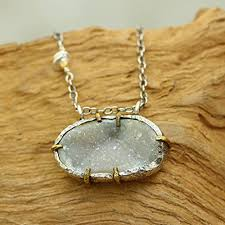 fine chain pendant necklace images Dainty oval druzy pendant necklace with fine link jpg