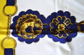 hermes carre cuivreries yellow white navy silk twill scarf lollipuff